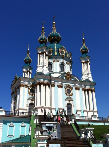 キエフ アンドレイ教会 1744年建立のバロック様式 (筆者撮影)