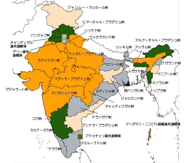 【図表2】インドの州政権(出所:インド選挙管理委員会、各種報道等から住友商事グローバルリサーチ作成)