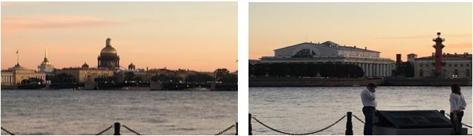 白夜のサンクトペテルブルク、ネバ川対岸から見たイサク聖堂、旧取引所(筆者撮影)
