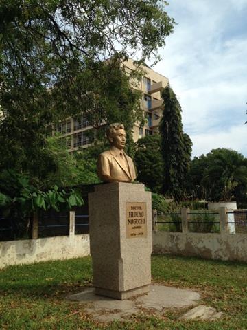 野口英世博士記念日本庭園に立つ胸像(筆者撮影)