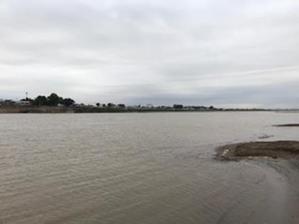ビエンチャンの国境沿いをゆったりと流れるメコン川。向こう側(上部)はタイのノンカイ県(筆者撮影)