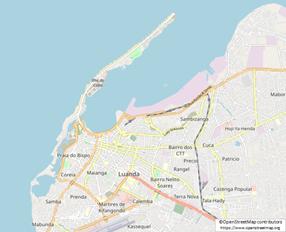 ルアンダ市、ルアンダ湾とIlha(イーリャ) (©OpenStreetMap contributorshttps://www.openstreetmap.org)