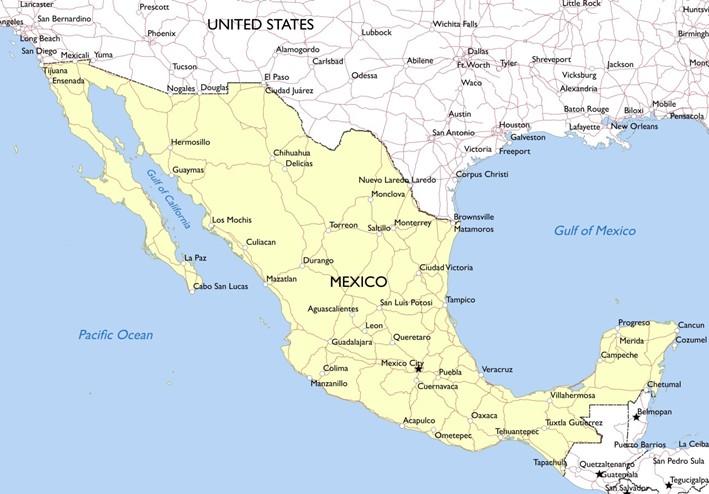 出所:https://mapswire.com/download/countries/mexico-simple-map.jpg