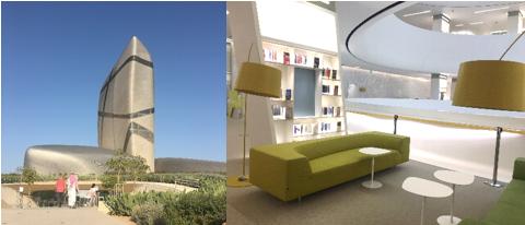 写真2(左):イスラの奇抜な外観(筆者撮影)、写真3(右):イスラ内部、北欧家具が置かれた快適な図書館(筆者撮影)