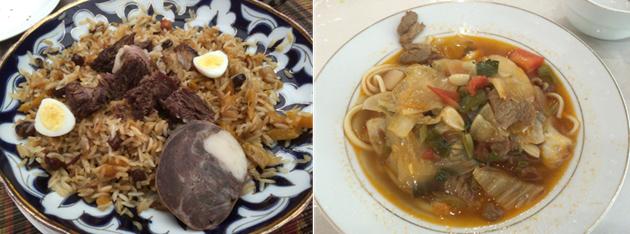 代表的なウズベク料理の、プロフ(炒飯)とラグマン(うどん)(筆者撮影)