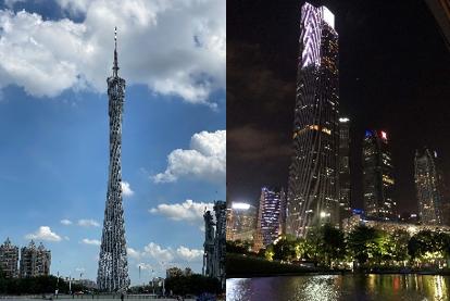 昼間の広州タワーと珠江新城の夜景(筆者撮影)