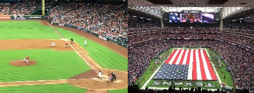 野球(左)とフットボール(右)の試合(筆者撮影)