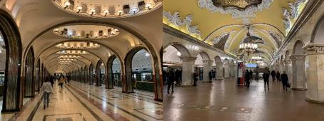 マヤコフスキー駅(左)とコムソモール駅(右)の構内(筆者撮影)