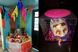 オフレンダ(祭壇)のお供えと砂糖菓子の頭蓋骨(筆者撮影)