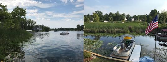 自宅近くのキャス・レイクの風景と著者友人のボート(筆者撮影)