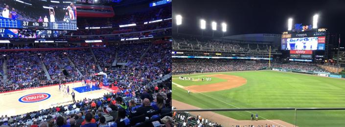 NBA(ナショナルバスケットボールアソシエーション)デトロイト・ピストンズの開幕試合、MLB(メジャーリーグベースボール)デトロイト・タイガーズのナイター)(筆者撮影)