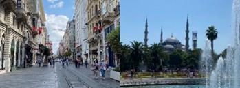 イスタンブールの銀座、イスティクラル通りとブルーモスク(撮影:天野寛教)