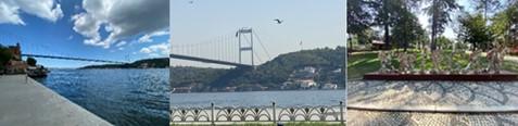 ボスポラス第二橋(左・中)とエミルギャン公園(右)撮影:(左)天野寛教;(中・右)辻綾子(トルコ住友商事社員)
