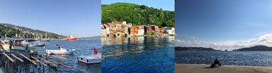 (左)サルエルに停泊するローカル漁船、(中)ボスポラス海峡東岸(アナドル・カヴァーウAnadolu Kavağı) の家々、(右)ボスポラス第三橋を望みつつ釣りにいそしむ人(筆者撮影)